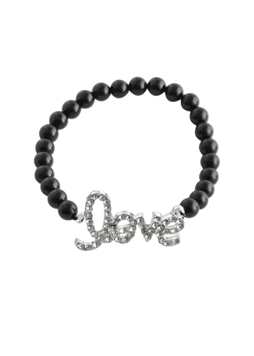 "Stretch ""Love"" Bracelet-Black Onyx"