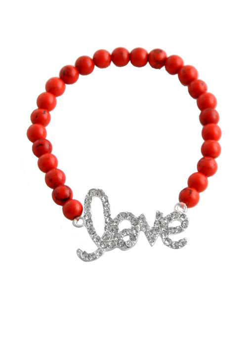 "Stretch ""Love"" Bracelet-Red Howlite"