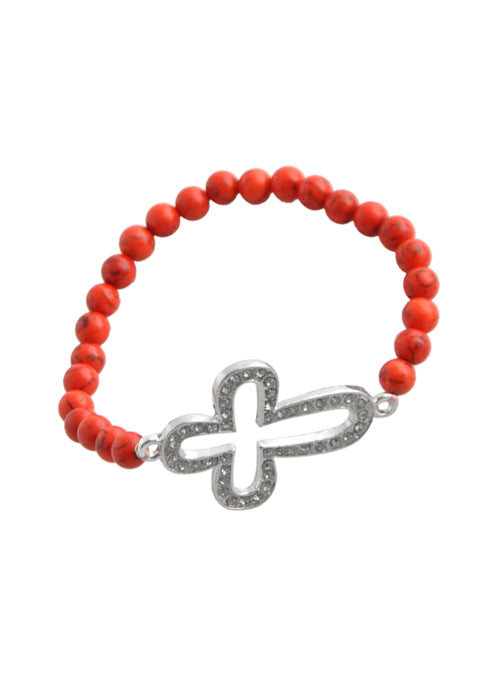 Stretch Cut Out Cross Bracelet-Red Howlite