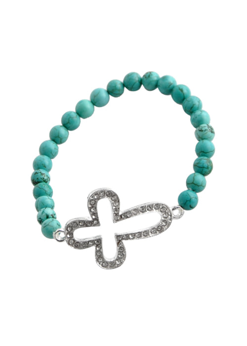Stretch Cut Out Cross Bracelet-Turquoise