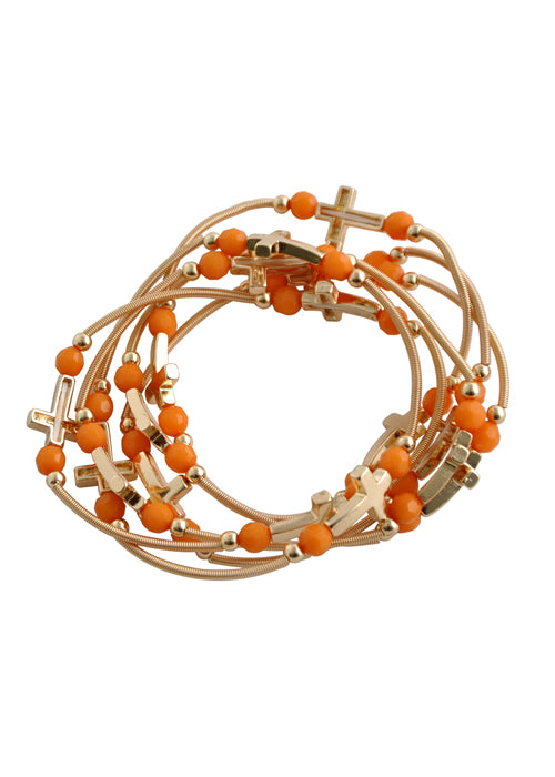 Stretchy Stack Cross Bracelet-Orange