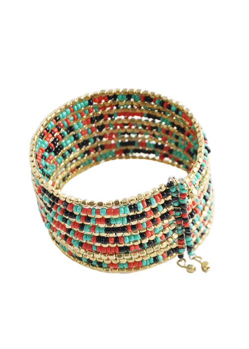 Multi-Color and Gold Tone Seed Bead Cuff Bracelet