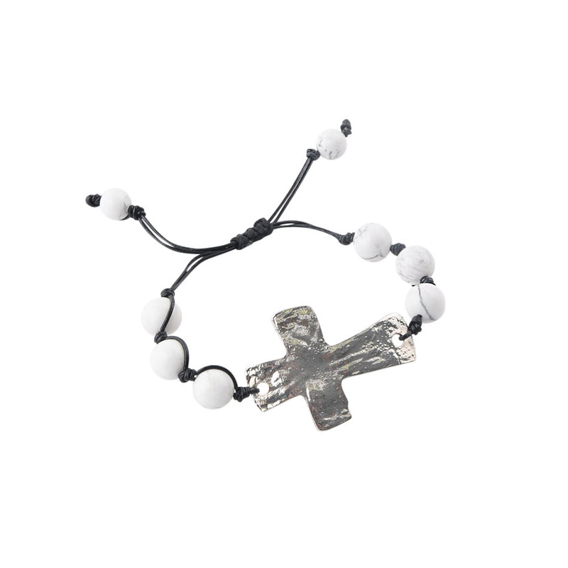 Leather and Stone Moderno Cross Bracelet-Howlite