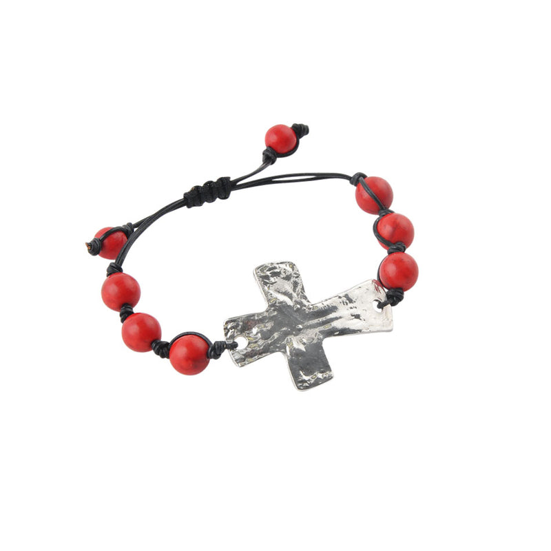 Leather and Stone Moderno Cross Bracelet-Red Magnesite