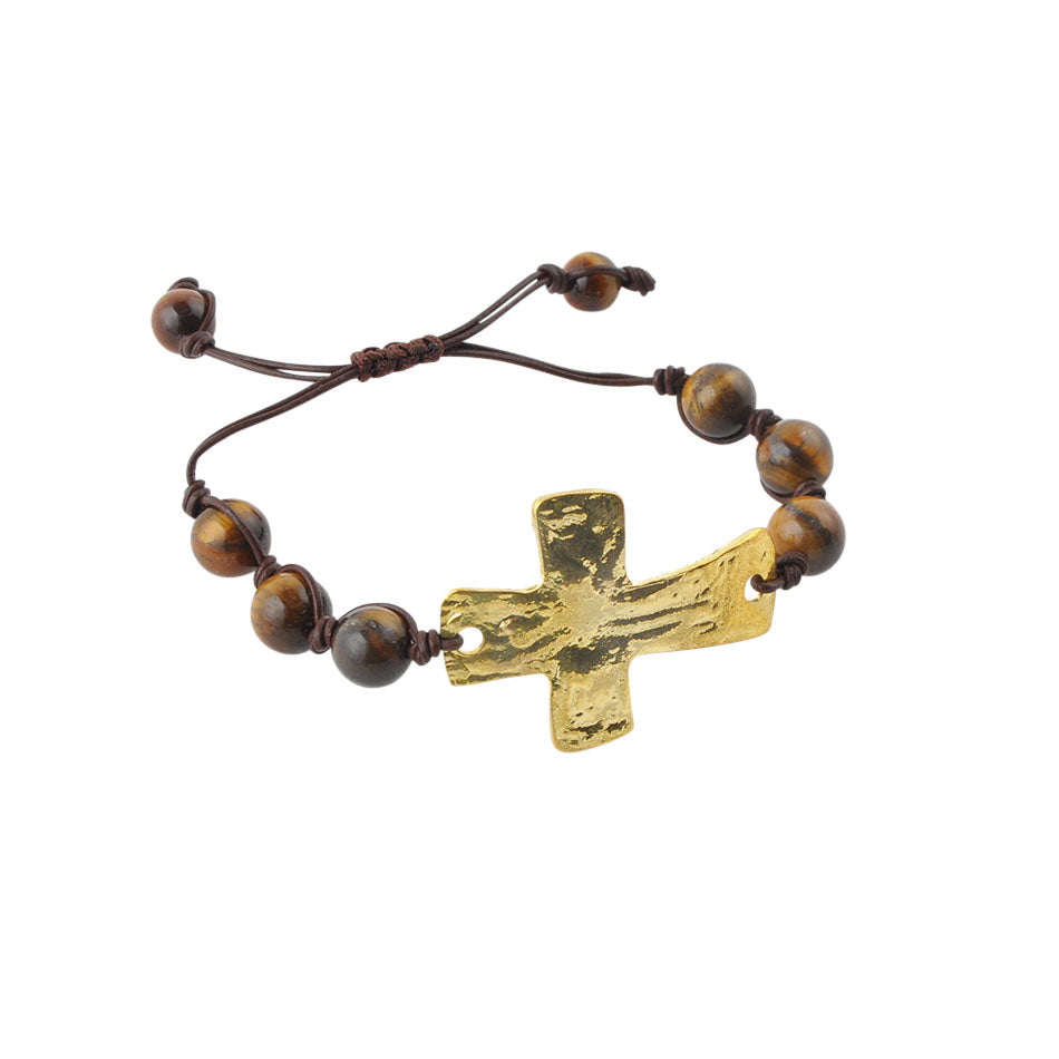 Leather and Stone Moderno Cross Bracelet-Tiger's Eye