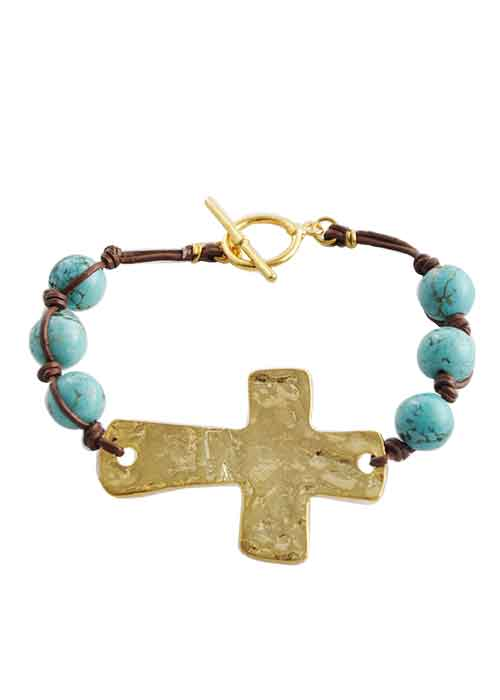 Leather and Stone Moderno Cross Bracelet-Turquoise Magnesite