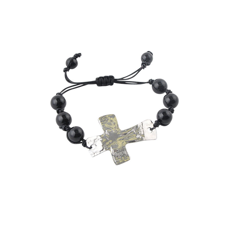 Leather and Stone Moderno Cross Bracelet-Genuine Onyx