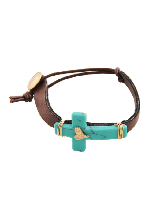 """His Heart"" Turquoise Howlite Cross and Leather Bracelet"