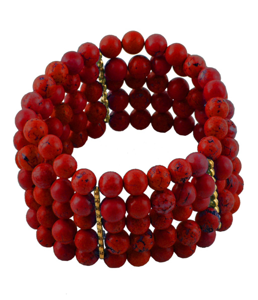Five Strand Red Magnasite Statement Bracelet
