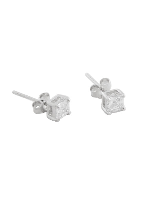 Square CZ Stud Earring- 4mm Sterling Silver