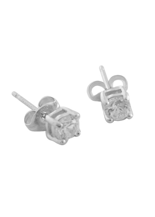 Round CZ Stud Earring- 4mm Sterling Silver