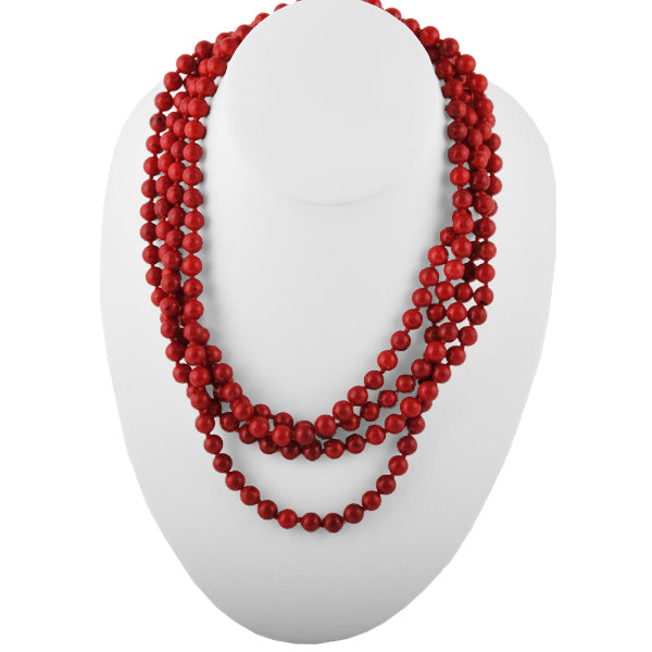 Great Lengths Stone Necklace- Red Magnesite