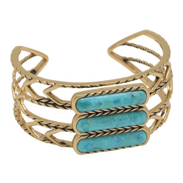 Stacked Straight Turquoise Cuff Bracelet