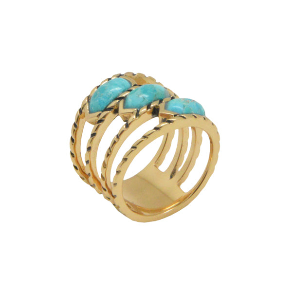Moire Triplex Turquoise Ring