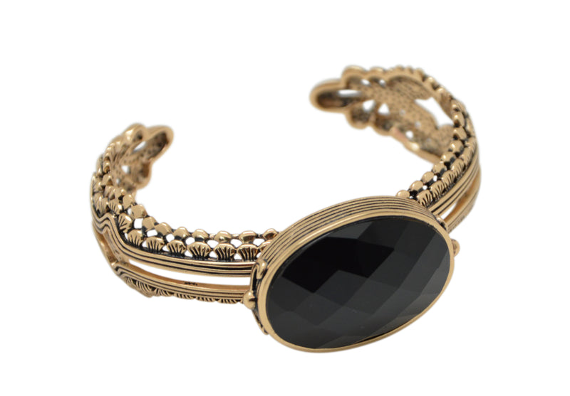 Mona Faceted Onyx and Bronze Cuff Bracelet
