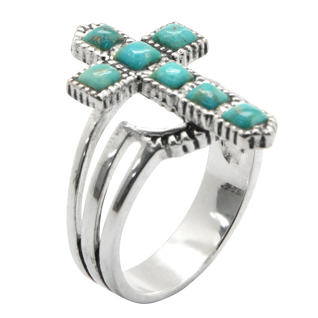Trinity Cross Ring-Turquoise