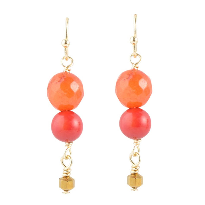Lovely Duo Earring - Orange and Red