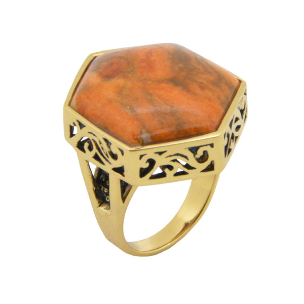 Hexagonal Orange Sponge Coral Ring