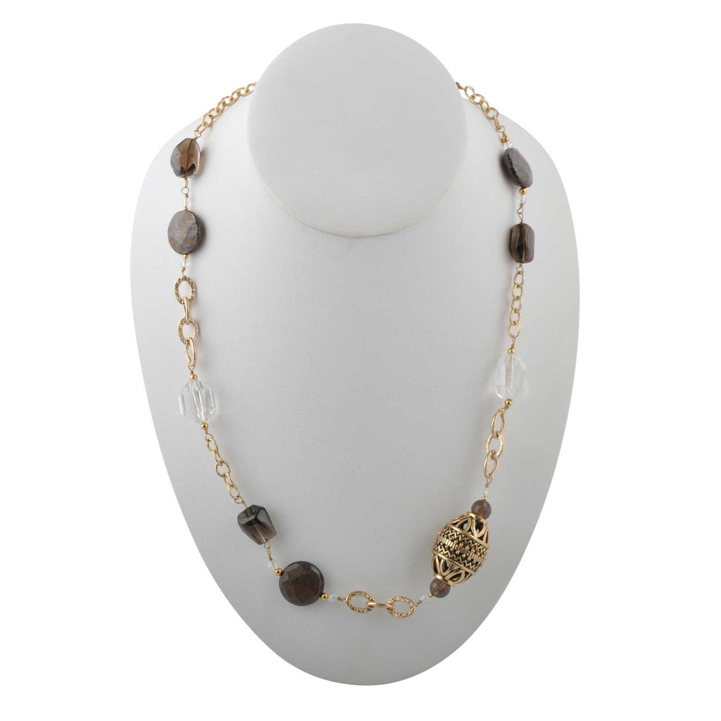 Bold and Smoky Quartz Crystal Necklace