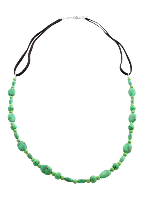 Lime Green Howlite Long Necklace