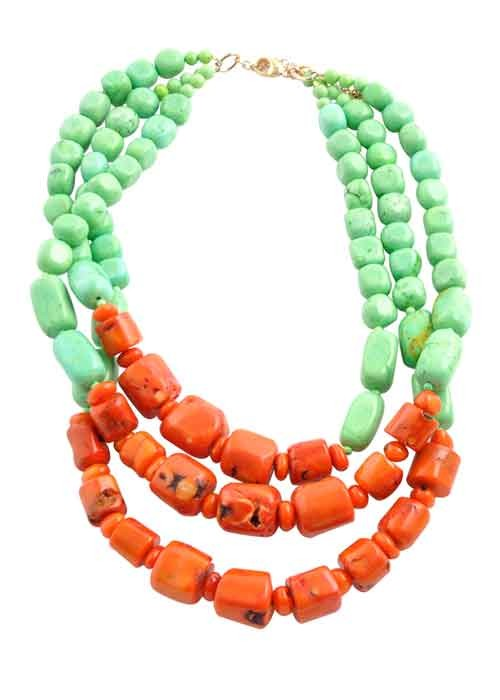 Green Howlite and Bamboo Coral Necklace
