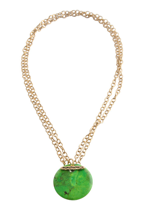 Convertible Natural Stone Necklace-Lime Turquoise