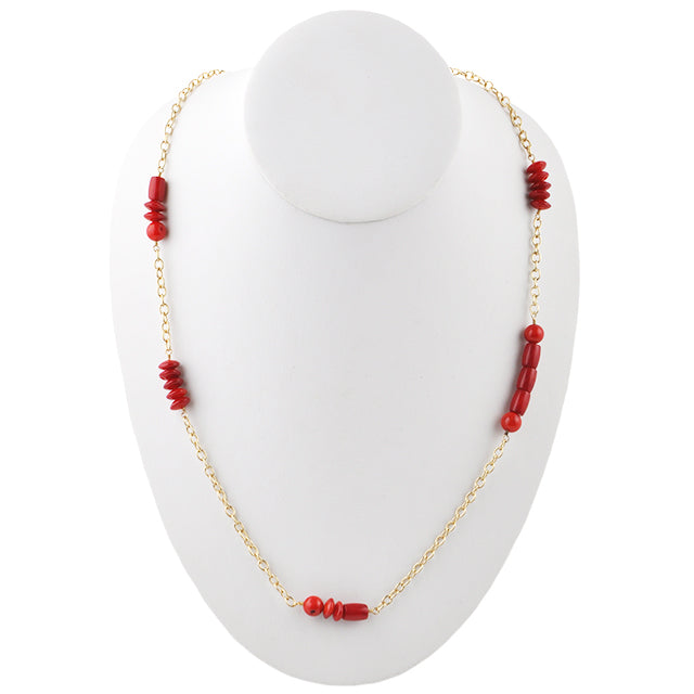 Double Duty Red Bamboo Coral Necklace-Bronze