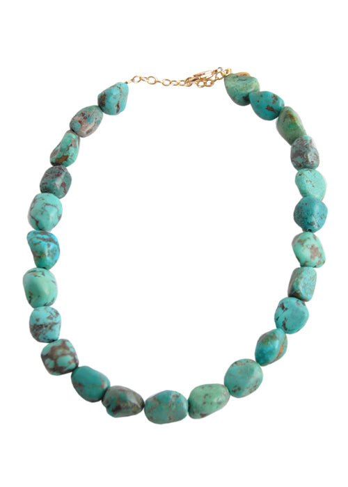 Beaded Bronze Turquoise Necklace
