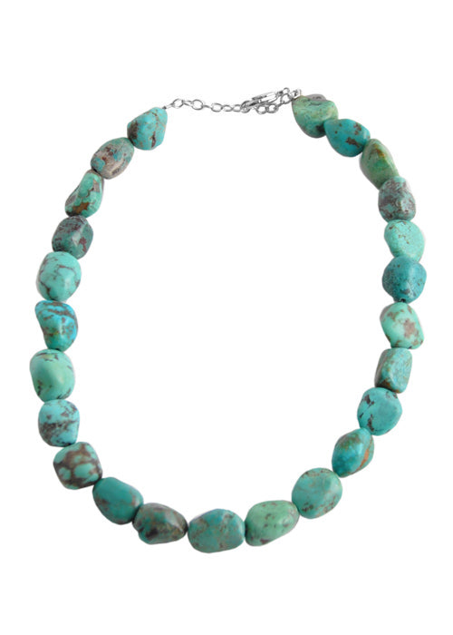 Beaded Silver and Turquoise Necklace