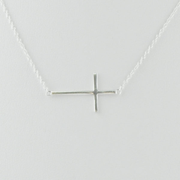Large Sideways Cross  Sterling Necklace