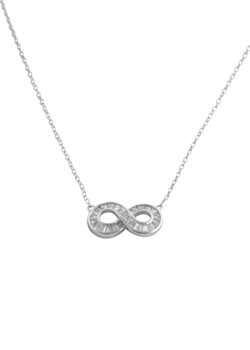 Large Infinity Necklace- CZ and Sterling Silver