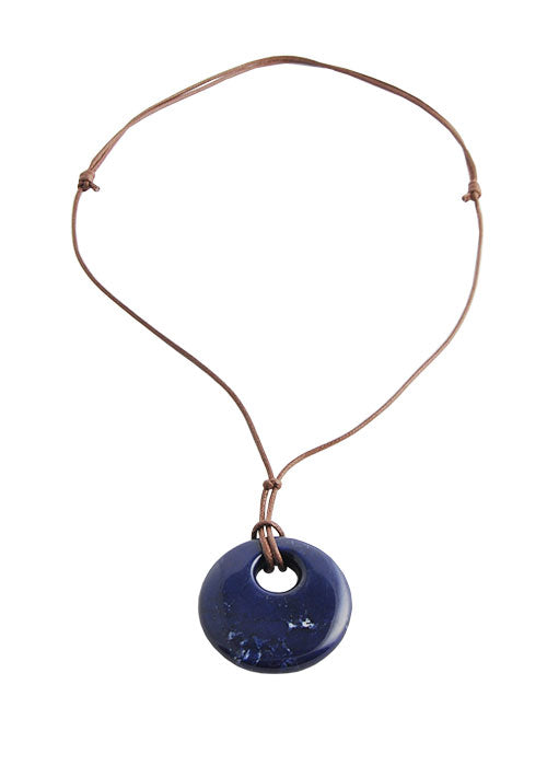 Leather Magnesite Necklace- Navy