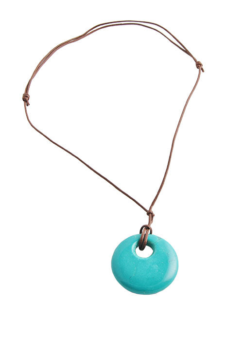 Leather Magnesite Necklace- Turquoise