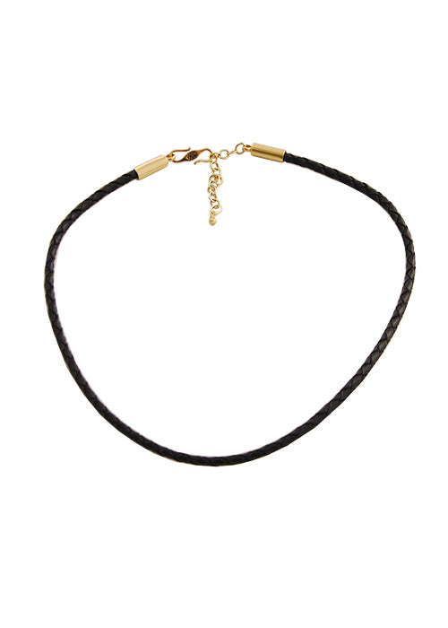 Braided Leather Necklace-Black