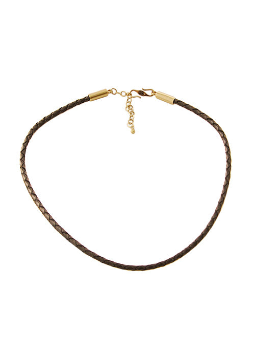 Braided Leather Necklace-Brown