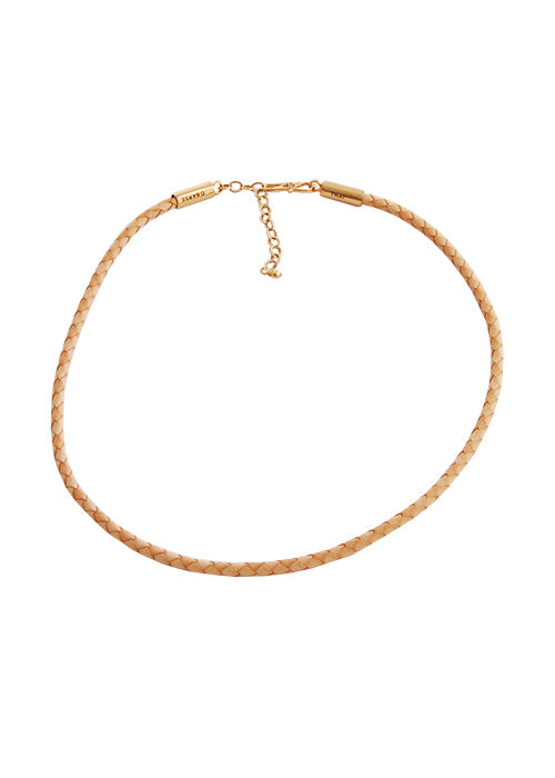 Braided Leather Necklace-Natural