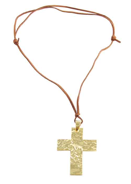 Hammered Cross and Adjustable Leather Necklace-Gold Tone