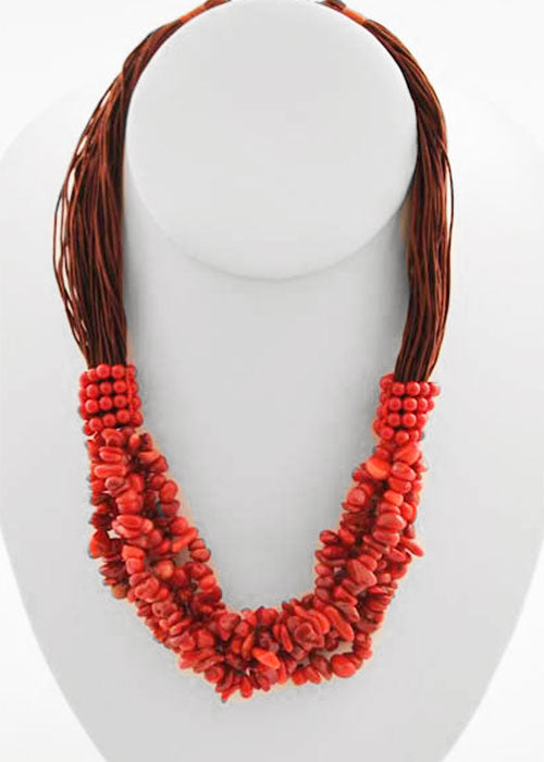 Multi-Strand Silk and Red Coral Necklace