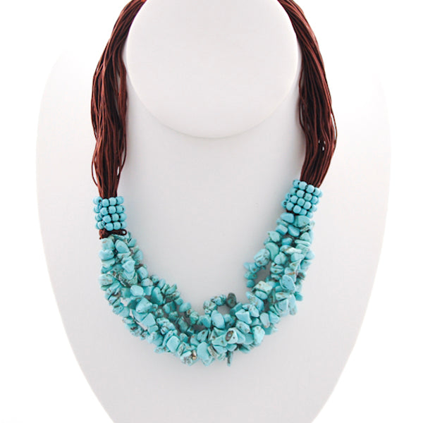 Multi-Strand Silk and Turquoise Necklace
