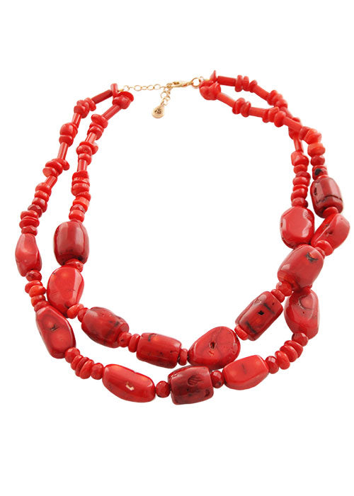 Double Trouble Red Coral Necklace