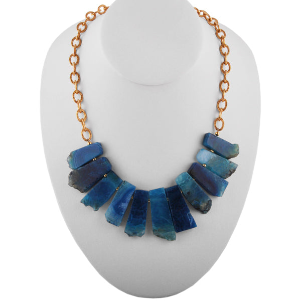 Saturation Stone and Bronze Necklace- Mod Blue