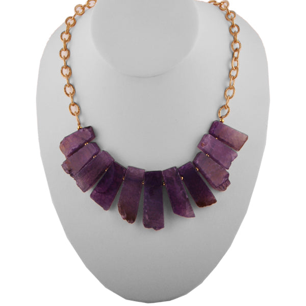 Saturation Stone and Bronze Necklace-Purple