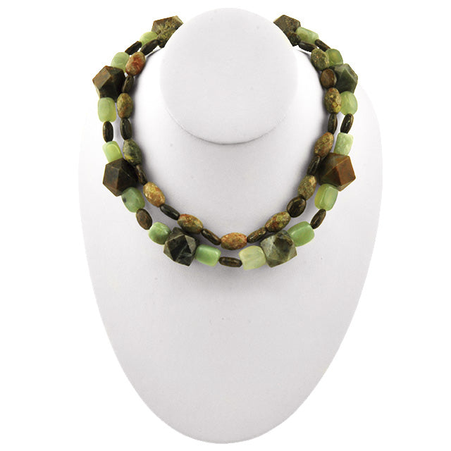 Double Strand Agate and Jasper Necklace