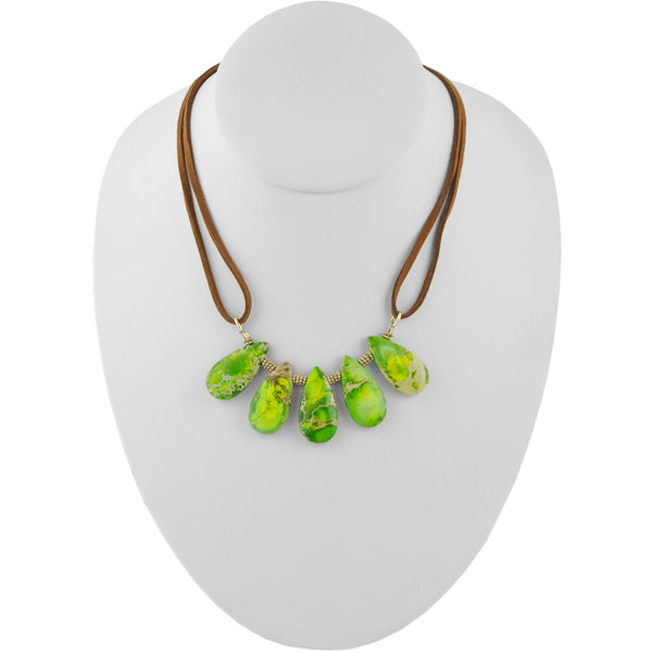 Stone Spray Leather Necklace-Green Jasper