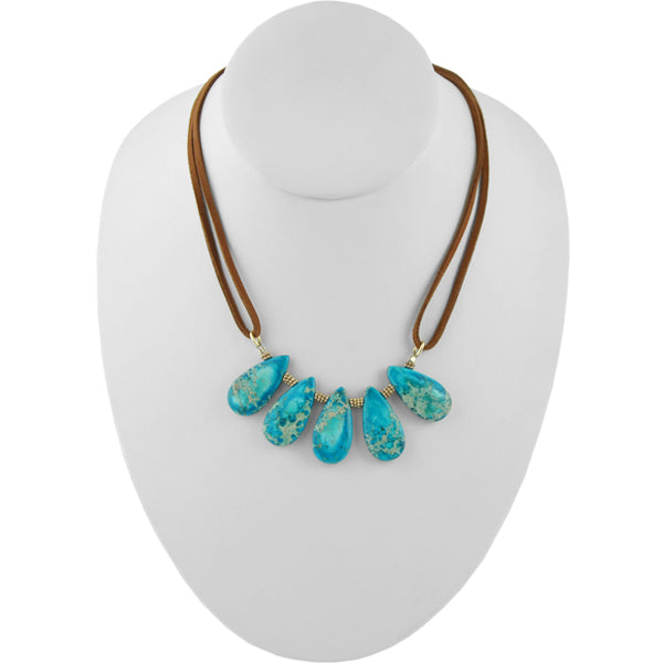 Stone Spray Leather Necklace-Turquoise Jasper