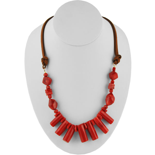 Red Hot Leather and Coral Necklace