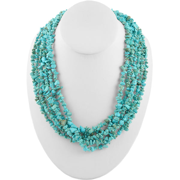 Multi-Strand Turquoise Magnesite Nugget Necklace