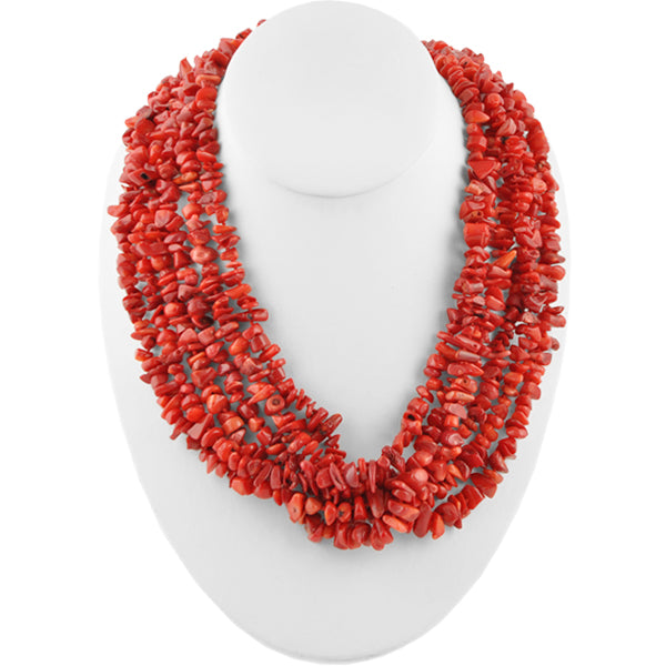 Multi-Strand Red Magnesite Nugget Necklace