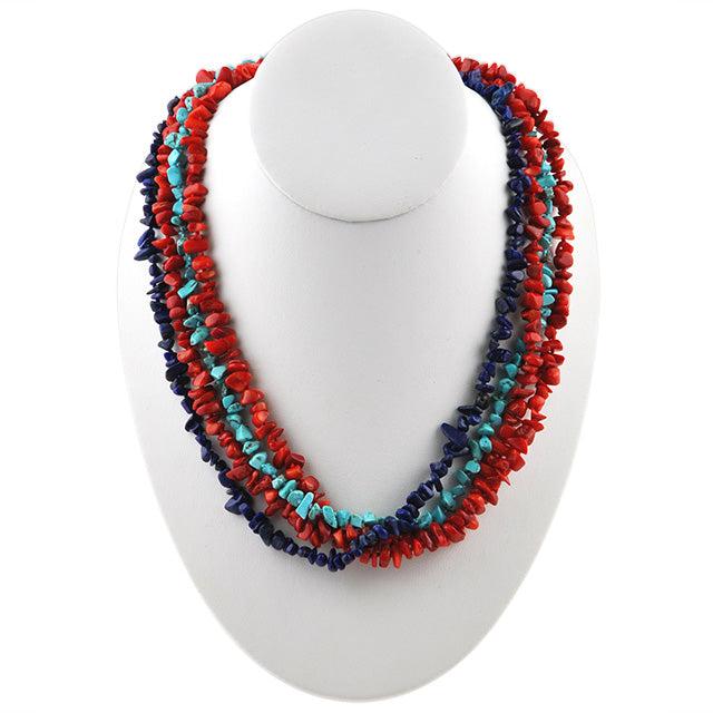 Multi-Strand Red and Blues Nugget Necklace