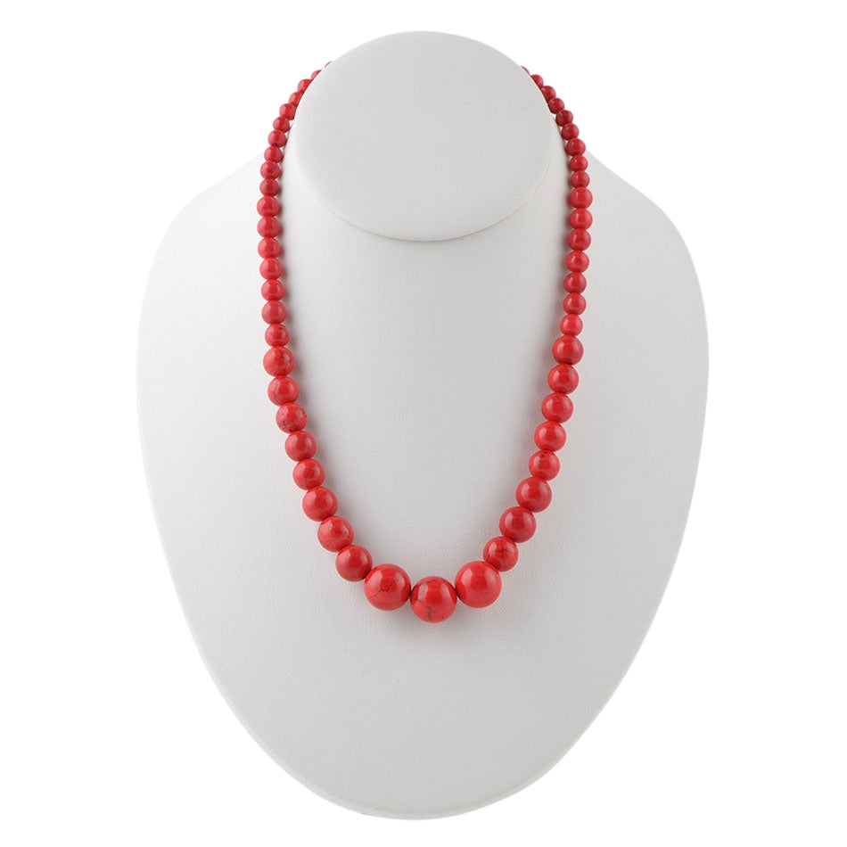 The Graduate Necklace-Red Magnesite